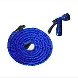 Шланг садовый для полива X Hose легкий и гибкий 15 метров с распылительной насадкой, Синий, фото 3