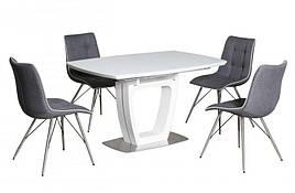 Стол  раскладной со стеклянной столешницей Arizona 140 White satin (Аризона) T7066  Evrodim, цвет белый