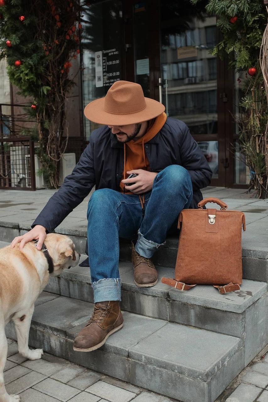 """Рюкзак чоловічий шкіряний на металевій рамі ручної роботи """"City brown dots"""". Колір коричневий"""