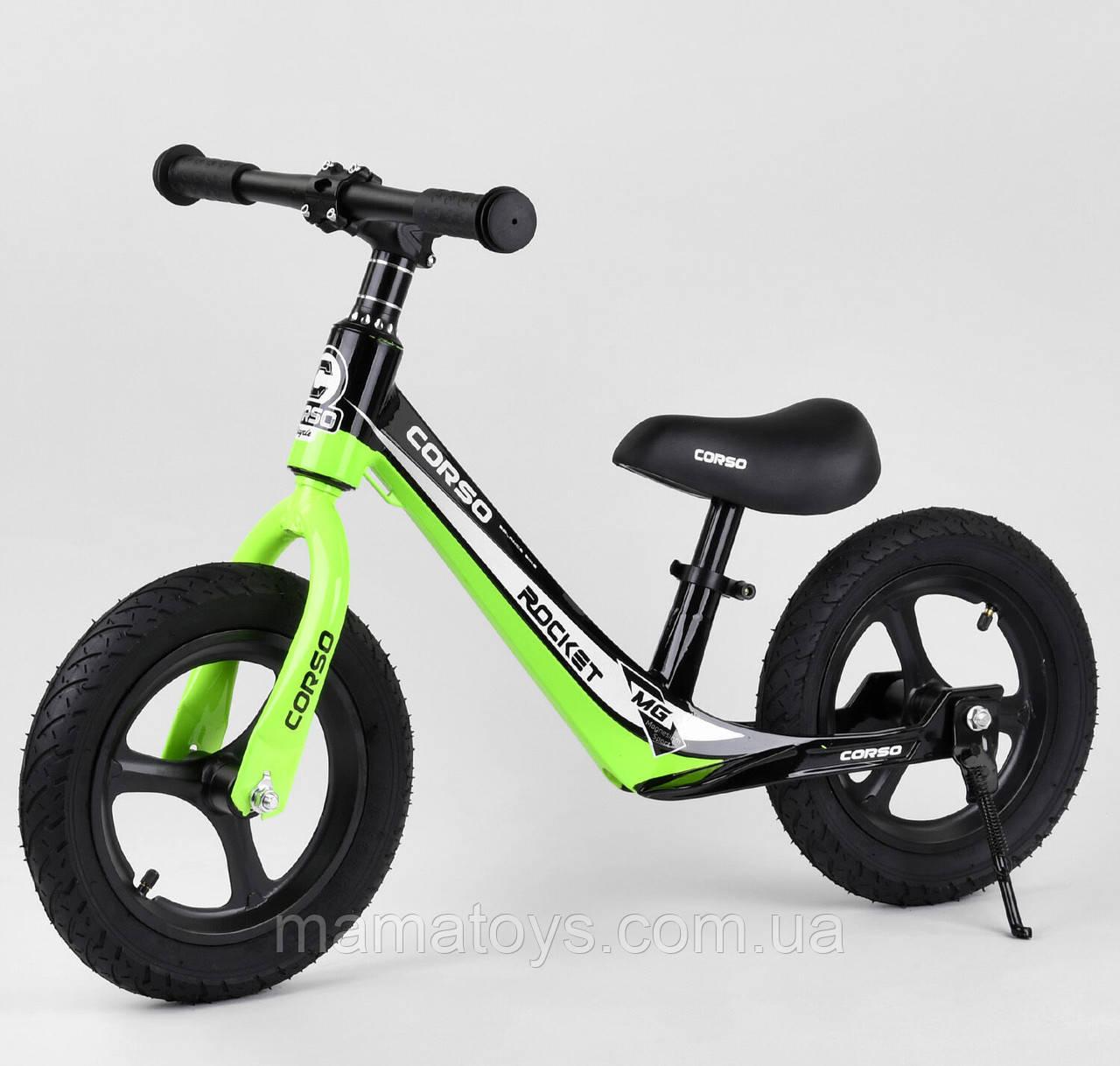 """Велобег 12 """"Corso 14452 Зелений, Магнієва рама і кермо, Надувні колеса, Підніжка"""
