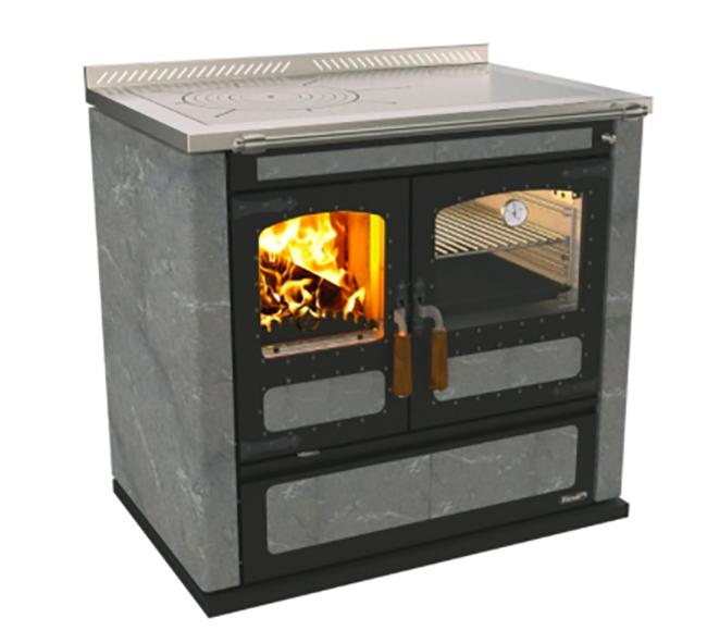 Отопительная варочная печь с котлом водяного отопления Rizzoli LT 90 Serpentine (камень серпантин)