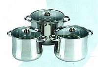 Набор кастрюль FRICO FRU-283, 6 предметов, 11.5, 13.5, 16.5 л., большие размеры, серебряные клепаные ручки