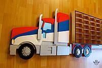 Навесная полка грузовик Mack Truck для 54 машинок в детскую комнату деревянная