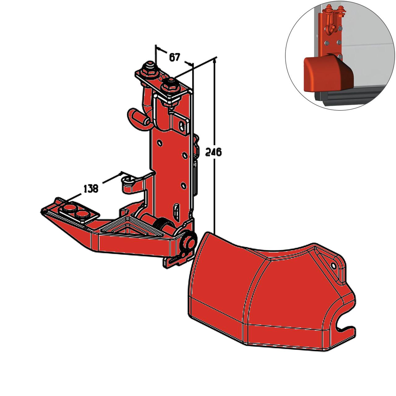 Кронштейн роликовый нижний Alutech RBI-45.100L