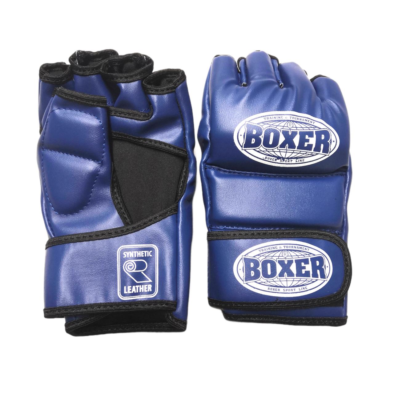 Перчатки для смешанных видов единоборств ММА кожвинил синие XL, BOXER