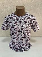 Однотоные футболки с принтом ПАЛЬМА пр-ва Турция (р-р S.XL.XXL) БЕСПЛАТНАЯ ДОСТАВКА при заказе 3 шт !!!
