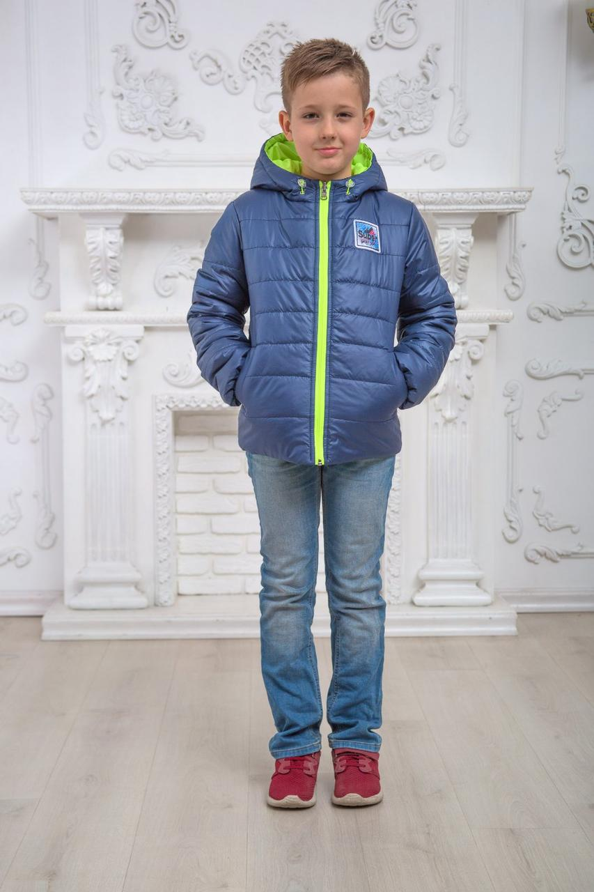 """Куртка на хлопчика демісезонна двостороння """"Спорт"""" синій з салатовим 116"""
