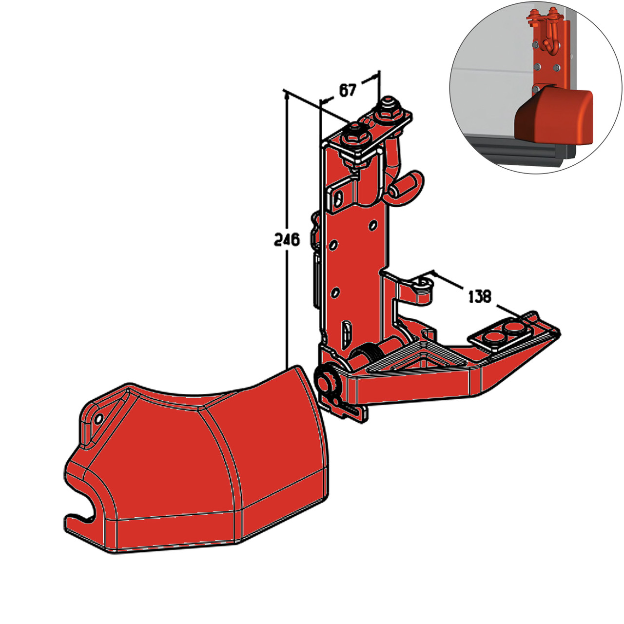 Кронштейн роликовый нижний Alutech RBI-45.100R