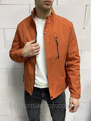 Ветровка мужская оранжевая без капюшона с высоким воротником