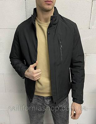 Ветровка куртка мужская черная без капюшона с высоким воротником классическая демисезонная