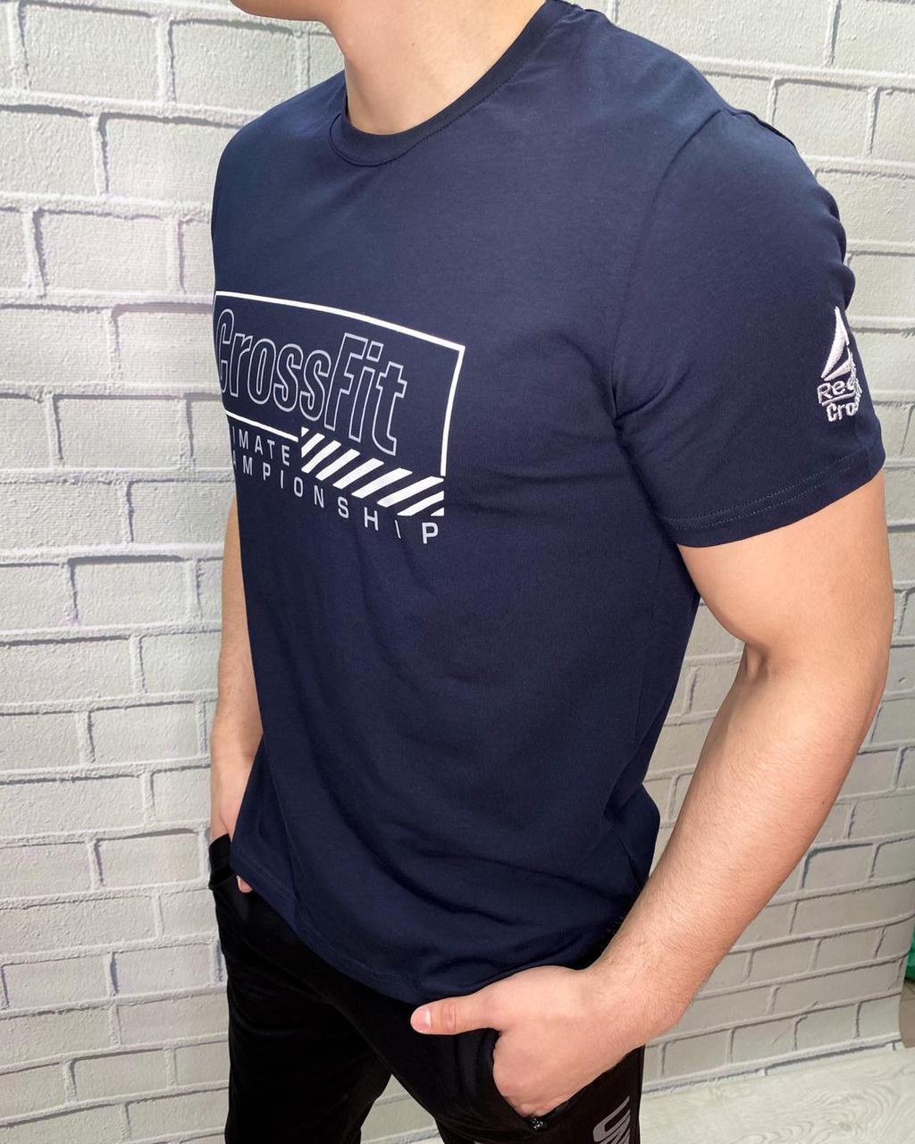 Футболка мужская Reebok Темно-синий Стильная Молодежная Хлопковая для прогулок и спорта Для мужчин M S
