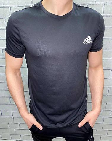 Футболка чоловіча Adidas Чорний Спортивна Стильна Для бігу спорту і прогулянок Для чоловіків, фото 2