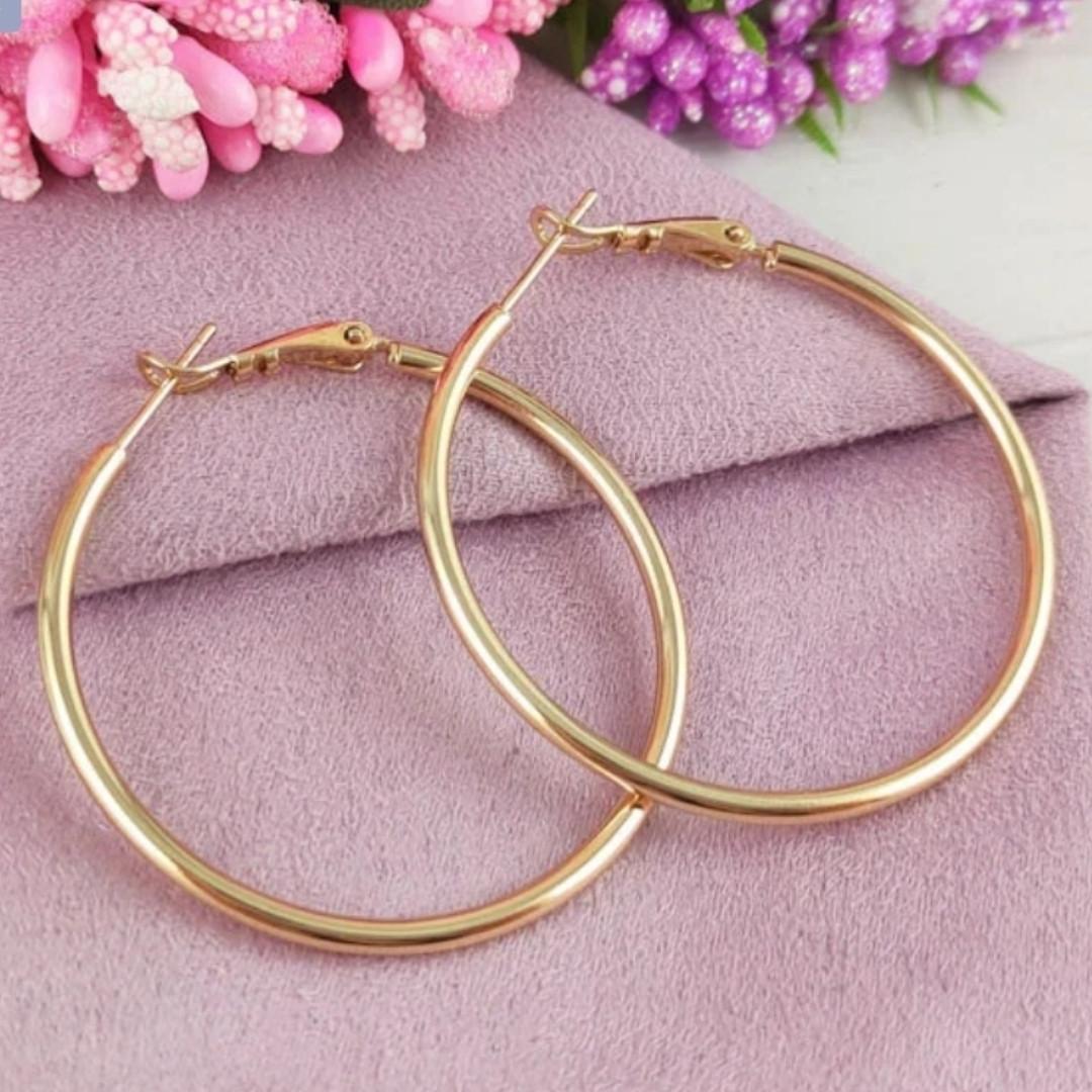 Серьги-кольца 4см Xuping медицинское золото позолота 18К с779