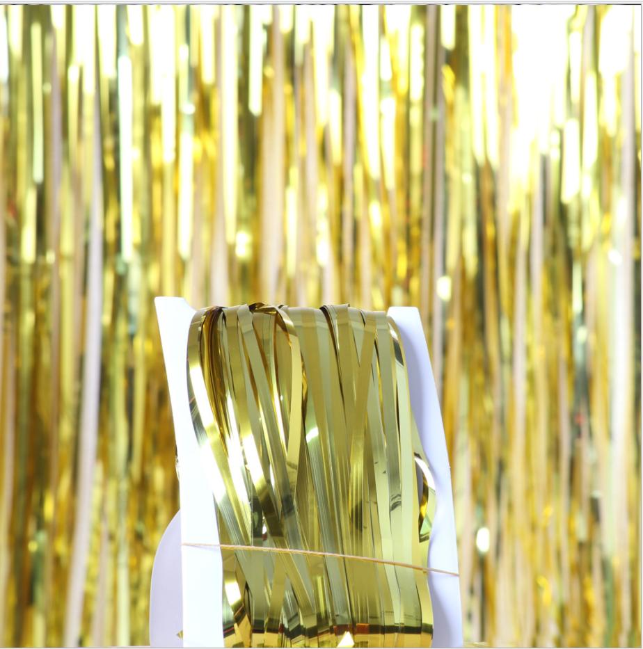 Шторка фольгированная для фотозоны золотая, Размер 3м.*1м.