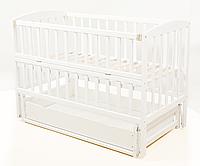 Детская кровать VALERI на шарнирах с откидной боковиной с ящиком с подшипником 60 на120 см бук окрашенные