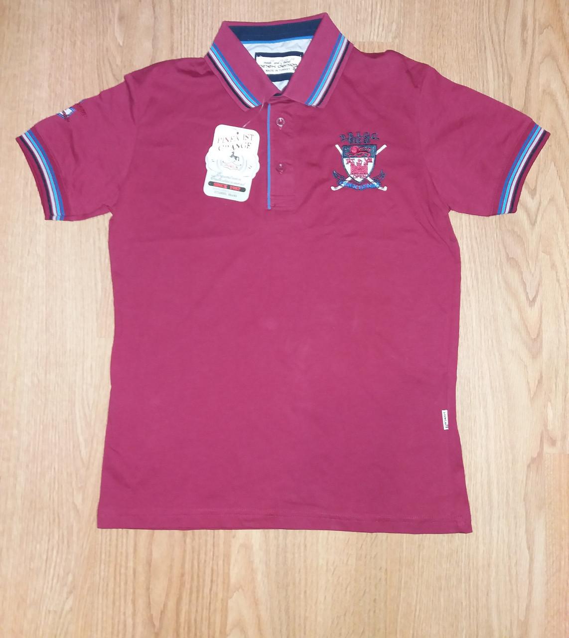 Чоловіча футболка поло бордо однотонна р. 44 Туреччина