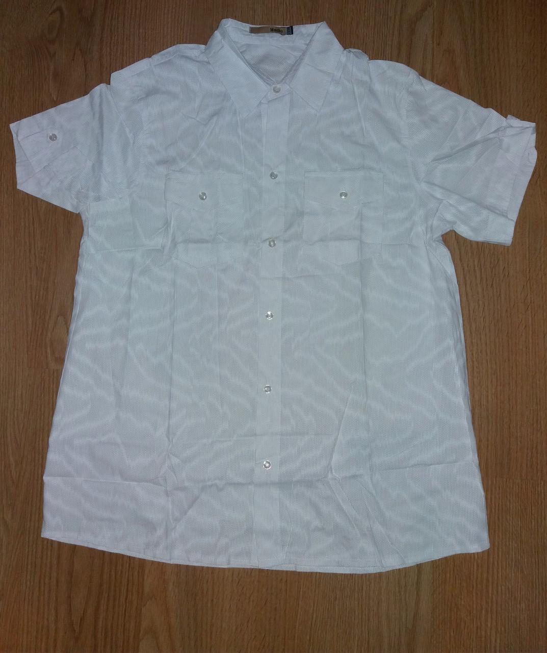 Чоловіча сорочка з коротким рукавом, біла р. XXL (52) Туреччина