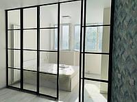 Стеклянная сдвижная перегородка в стиле лофт. Черный алюминиевый профиль и прозрачное стекло, фото 1