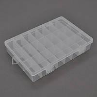 Пластмасовий ящик для радіодеталей, 345 х 50 х 220 мм, 28 великих відділень