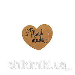Бирки пришивні у формі сердечка , колір рудий