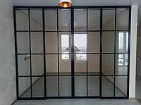 Стеклянная раздвижная перегородка между спальней и гостиной, фото 1
