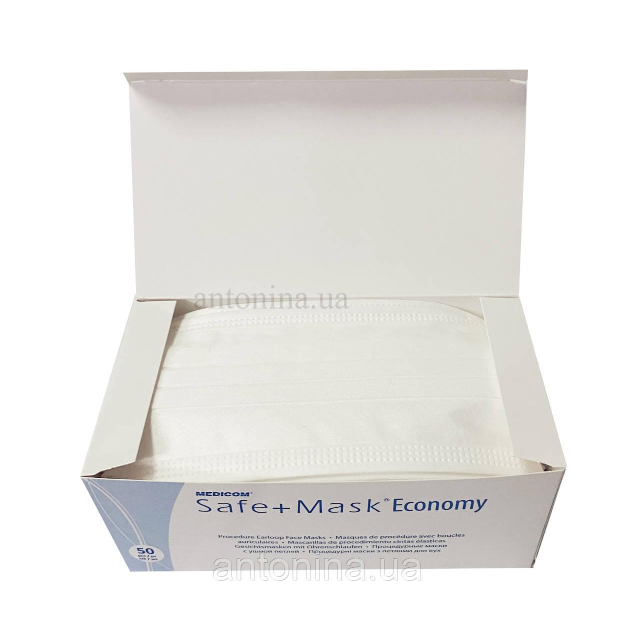Маска захисна на резинці, біла Medicom, 50 шт/уп