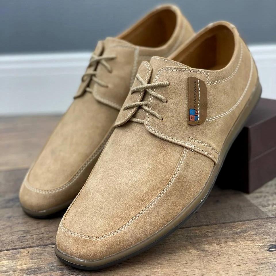 Туфли мужские стильные бежевого цвета (156020)