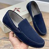 Туфли - мокасины мужские на резинку синего цвета (156010), фото 3