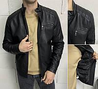 Стильная черная кожаная куртка мужская из кожзама, демисезонные кожанки экокожа на молнии Турция (кожанка)