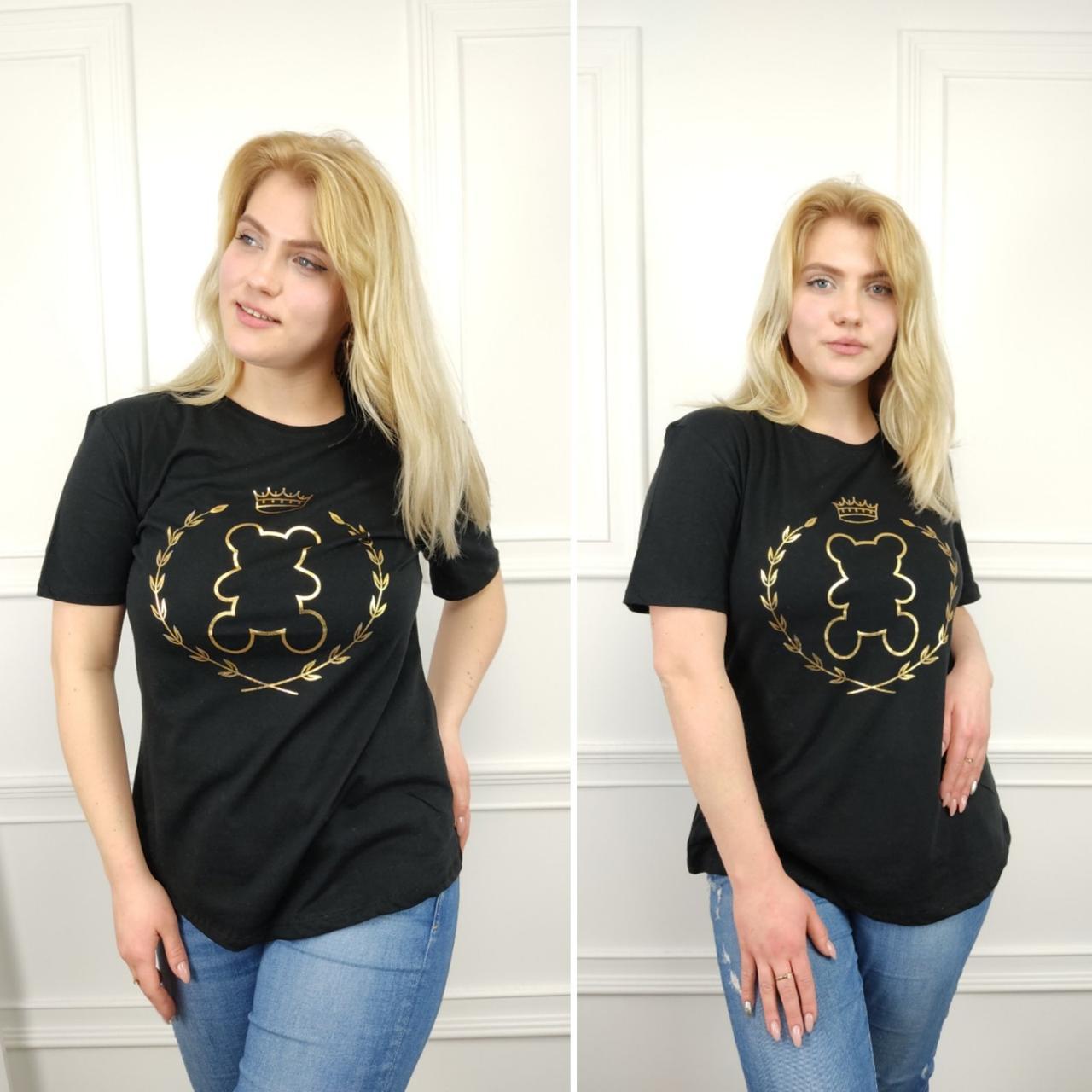 Женская футболка, батал 50-58рр, черный, золото, мишка