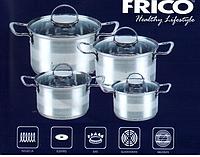 Набор кастрюль FRICO FRU-706, (2.1, 2.9, 3.9, 6.5 л), 8 предметов, 7 слой., доставка из Киева