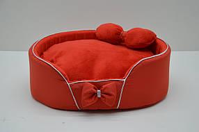 Лежанка для собак і кішок VIP Плюш №3 425х560х120 червона, фото 2