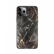 Защитная пленка на заднюю панель смартфона Черно-Золотой Мрамор