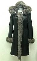 Дубленка натуральная женская с капюшоном cнегурочка