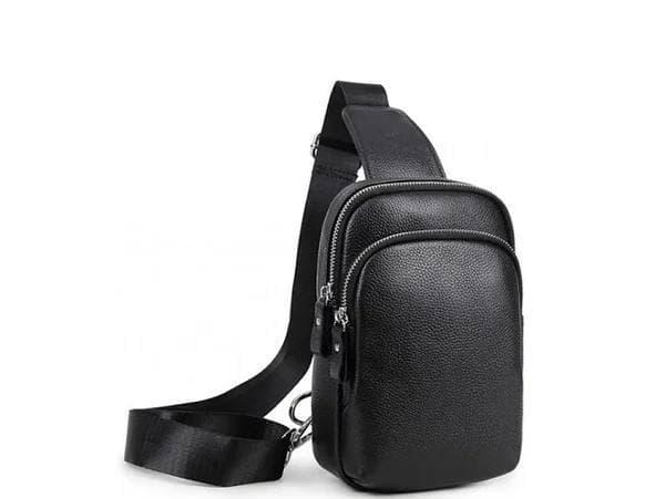 Мужской кожаный рюкзак на одно плечо Tiding черная