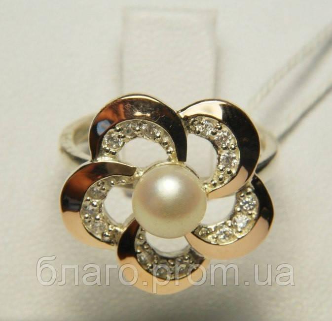 Серебряное кольцо с накладками золота с жемчугом