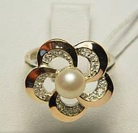 Серебряное кольцо с накладками золота с жемчугом, фото 1