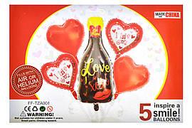 """Набір """"Love"""" 18"""" серце 4 шт + 1шт бутилка 38х80см"""