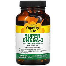 """Рыбий жир Country Life """"Super Omega-3"""" концентрированный (60 капсул)"""