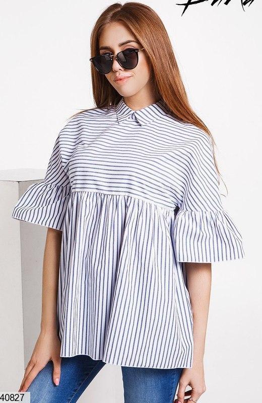 Свободная блузка в полоску с завышенной талией, коттон, голубая полоска