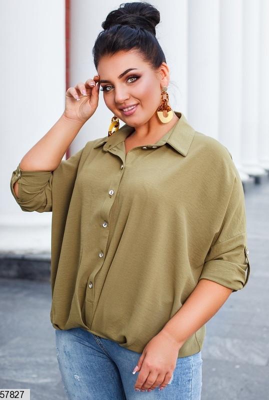 Вільна однотонна жіноча сорочка, полірований льон жатка, хакі