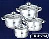 Набор кастрюль FRICO FRU-713, 8 Предметов, ковшик 2.1 л., кастрюли (2.9, 3.9, 6.5 л.), доставка из Киева