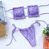 Женский купальник с лифом со сборкой - черный, фиолетовый в горох,  нежно розо, фото 3