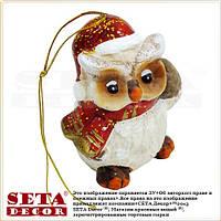 Сова с шишкой - новогодняя подвесная игрушка-статуэтка