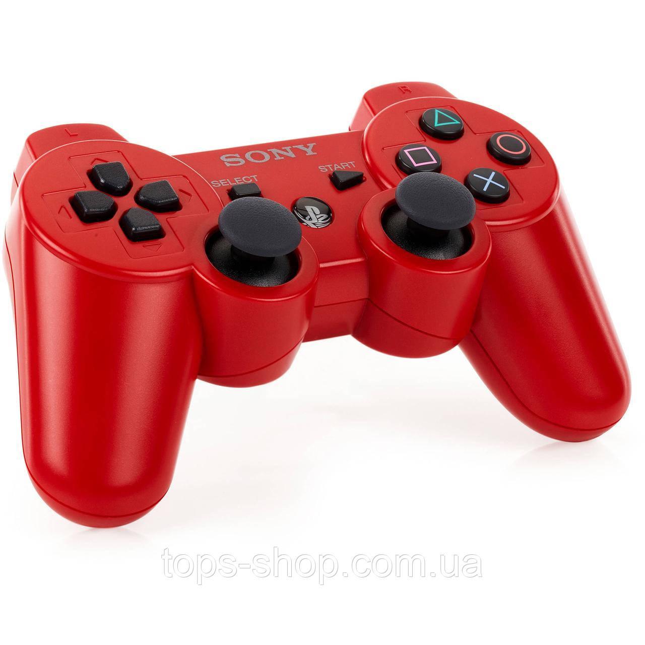 Джойстик контроллер геймпад для Sony PlayStation 3 DualShock Беспроводной ps3 bluetooth пс3 красны ( Реплика )