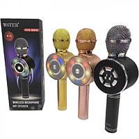Мікрофон+mini speaker Karaoke WS-669 bluetooth gold (1 кабель) WS-669