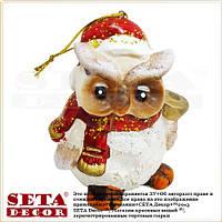 Сова с колокольчиком - новогодняя подвесная игрушка-статуэтка