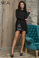 Платье туника черное С дырками на плече
