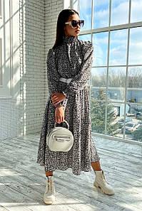 Воздушное платье миди из креп-шифона воротник стойка с 42 по 48 размер