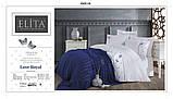 Комплект Постельное Белья С Сатиновой Простыню И Вязаным Покрывалом-Пледом Евро Размер Турция ELITA Синий, фото 2